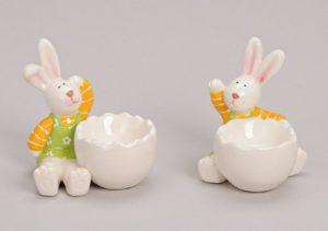 Eierbecher Osterhase Maedchen oder Junge Ostern Keramik weiss/ bunt 1812-57597