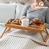 SONGMICS Betttablett Bambus Betttisch mit klappbaren Beinen Serviertablett für Frühstück als Beistelltisch und Knietisch mit Griffen LLD530